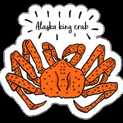 Hand Drawn Illustration Of Alaska King Crab Sticker