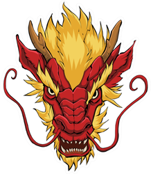 Hand Drawn Illustration Of Chinese Dragon In Red And Yellow Sticker