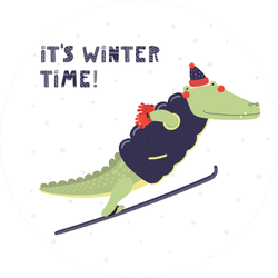Hand Drawn Illustration Of Crocodile Ski Jumping Sticker