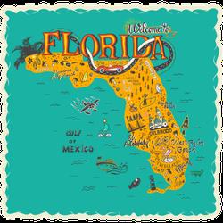 Hand Drawn Illustration Of Florida Map Destinations Sticker