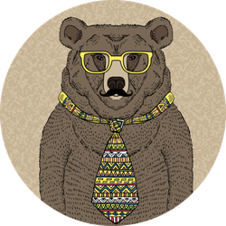 Hand Drawn Illustration Of Hipster Bear With Mustache Sticker