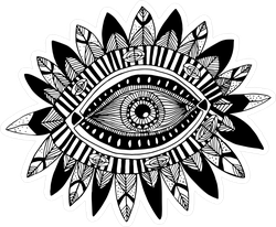 Hand Drawn Indian Aztec Tribal Eye With Feathers Sticker