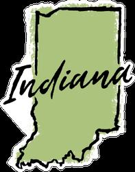 Hand Drawn Indiana State Sticker