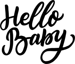 Hand Drawn Lettering Hello Baby Sticker