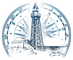 Hand Drawn Lighthouse With Sea Landscape Compass Sticker
