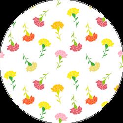Hand Drawn Little Carnation Flowers In Pastel Pattern Sticker