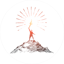 Hand Drawn Man Standing On Top Of Mountain Sticker