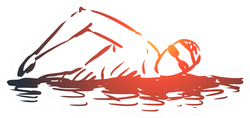 Hand Drawn Man Swim In Pool Sticker