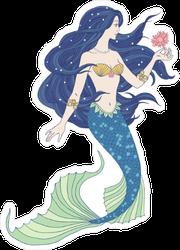 Hand Drawn Mermaid Holding A Flower Sticker
