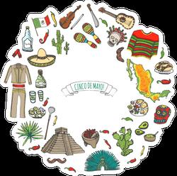 Hand Drawn Mexico Icons Circle Sticker