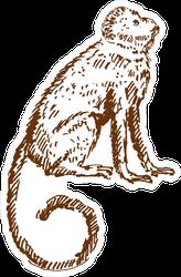 Hand Drawn Monkey Sketch Sticker