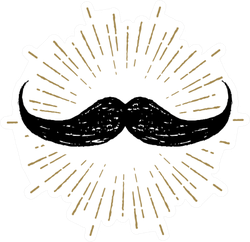 Hand Drawn Mustache Gold Sticker