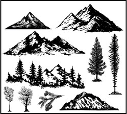 Hand Drawn Nature Pines Cones Mountains Landscape Sticker