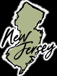 Hand Drawn New Jersey State Sticker