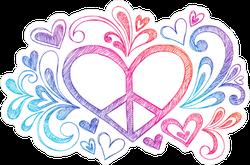 Hand Drawn Peace Sign Heart Sticker