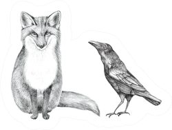 Hand Drawn Pencil Illustration Of A Fox And Crow Sticker