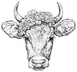 Hand Drawn Portrait Of Cute Cow With A Wreath On Head Sticker