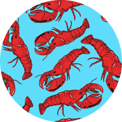 Hand Drawn Red Cooked Boiled Lobster Pattern In Blue Sticker