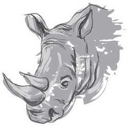 Hand Drawn Rhino Portrait Sticker