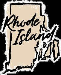 Hand Drawn Rhode Island State Sticker