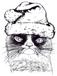 Hand Drawn Santa Grumpy Cat Meme Sticker