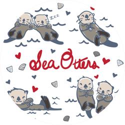 Hand Drawn Sea Otters Love Sticker