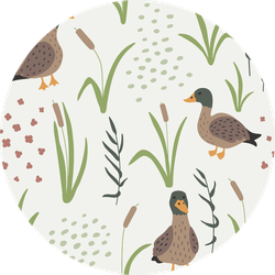Hand Drawn Seamless Pattern With Ducks And Grass Sticker