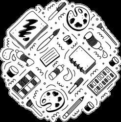 Hand Drawn Set Of Creative Artist Tools Sticker