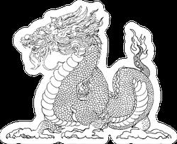 Hand Drawn Silhouette Dragon Sticker