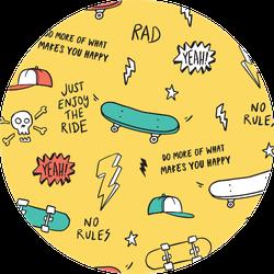 Hand Drawn Skateboarding Elements Sticker