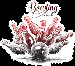 Hand Drawn Sketch Bowling Sticker