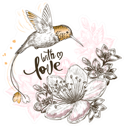 Hand Drawn Sketch Illustration With Cute Hummingbird Bird Sticker