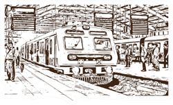 Hand Drawn Sketch Of Mumbai Local Train Sticker