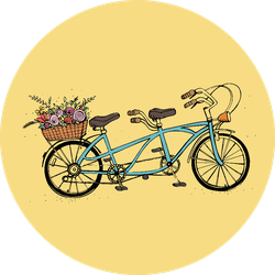 Hand Drawn Tandem City Bicycle With Basket Of Flowers Sticker