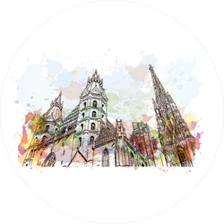 Hand Drawn Vienna Sketch Watercolor Illustration Sticker