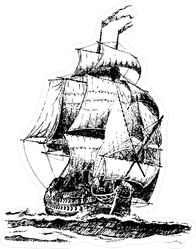 Hand Drawn Vintage Pirate Ship Illustration Sticker