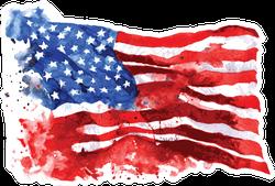 Hand-drawn Watercolo Flag Of America Sticker