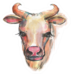 Hand Drawn Watercolor Cow Sticker