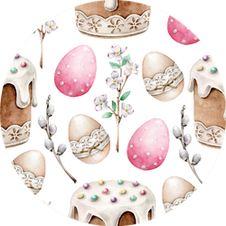 Hand Drawn Watercolor Easter Pattern Sticker
