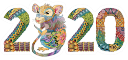 Hand Drawn Zentangle Rat Number 2020 Sticker