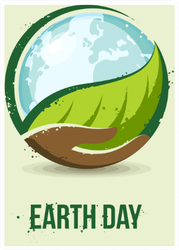 Hand Holding A Leaf And Earth Sticker