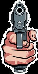 Hand Holding Gun Sticker