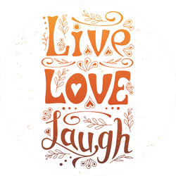 "Hand Lettering Typography ""live, Love, Laugh"" Sticker"
