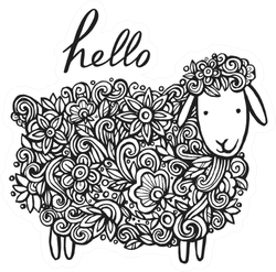 """Hand Lettering Word """" Hello"""" And A Lovely Lamb In Flowers Sticker"""