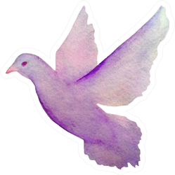 Hand Painted Watercolor Pigeon Dove Flying In The Sky Sticker