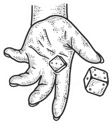 Hand Rolls Dice Sketch Sticker