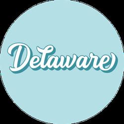 Hand Sketched Delaware Text Light Blue Sticker