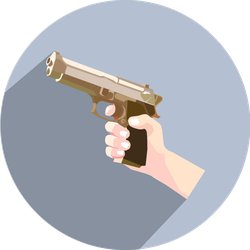 Hand With A Gun Circle Sticker