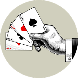 Hand With Ace Playing Cards Fan Vintage Sticker
