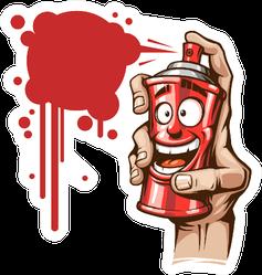 Hand With Paint Spray Illustration Sticker